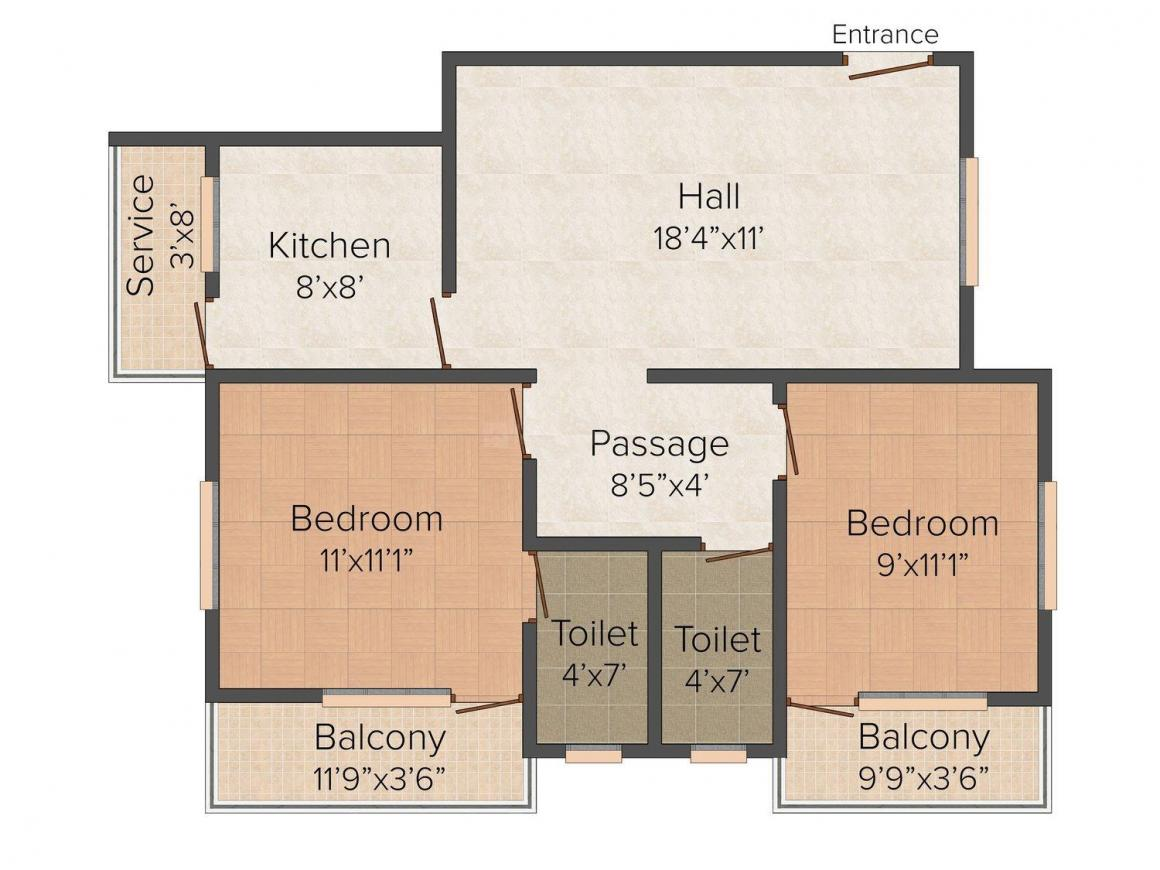 Patson Terrain Apartment Floor Plan: 2 BHK Unit with Built up area of 931 sq.ft 1