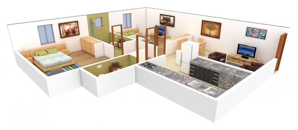 Arka Tulip Floor Plan: 2 BHK Unit with Built up area of 796 sq.ft 1