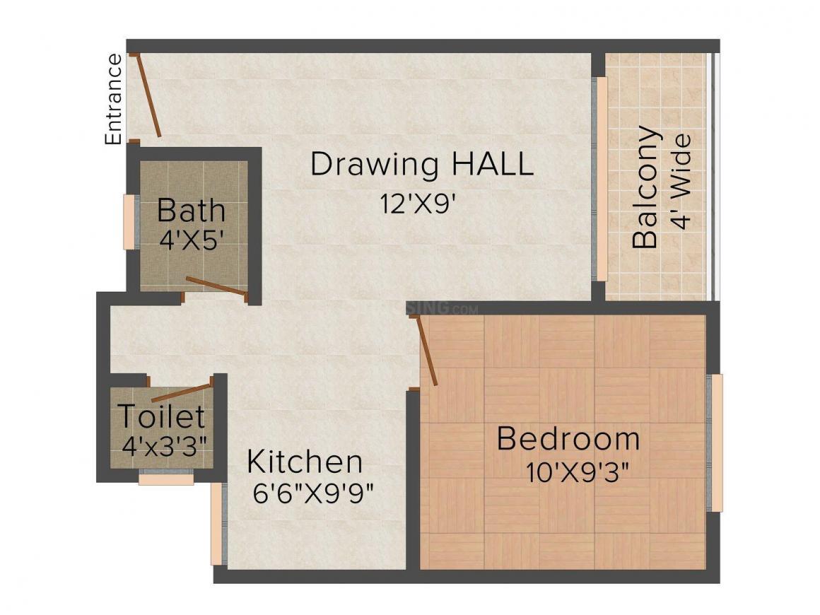 Swastik Premiere Park Floor Plan: 1 BHK Unit with Built up area of 540 sq.ft 1