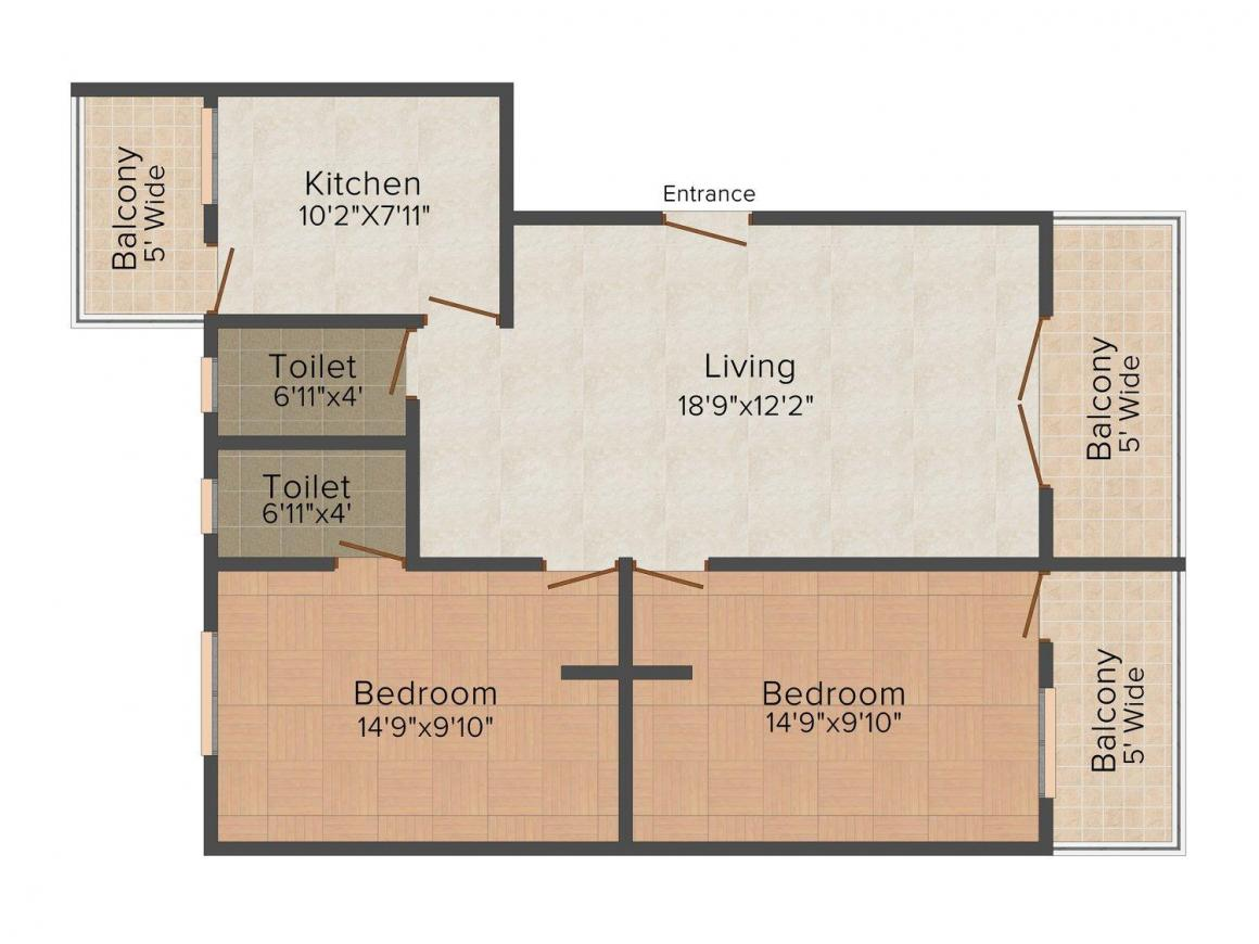 Floor Plan Image of 0 - 1039.0 Sq.ft 2 BHK Apartment for buy in Chatim Green Forest Apartments - Phase II