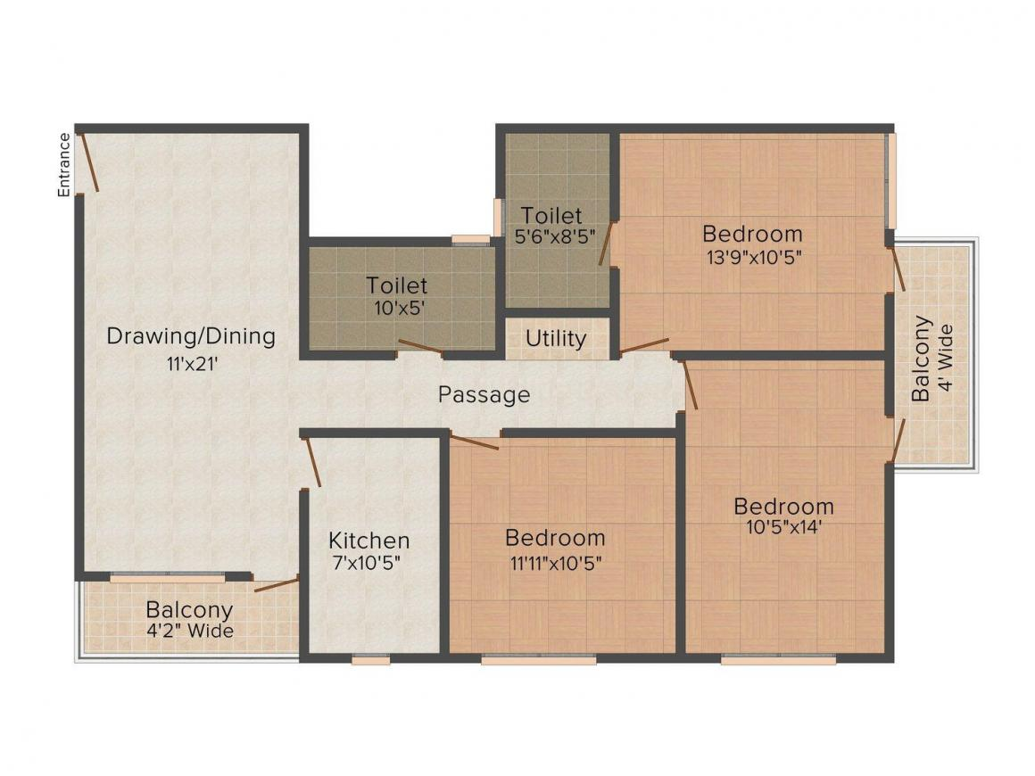 Floor Plan Image of 0 - 1260 Sq.ft 3 BHK Apartment for buy in Vijaya Balsam