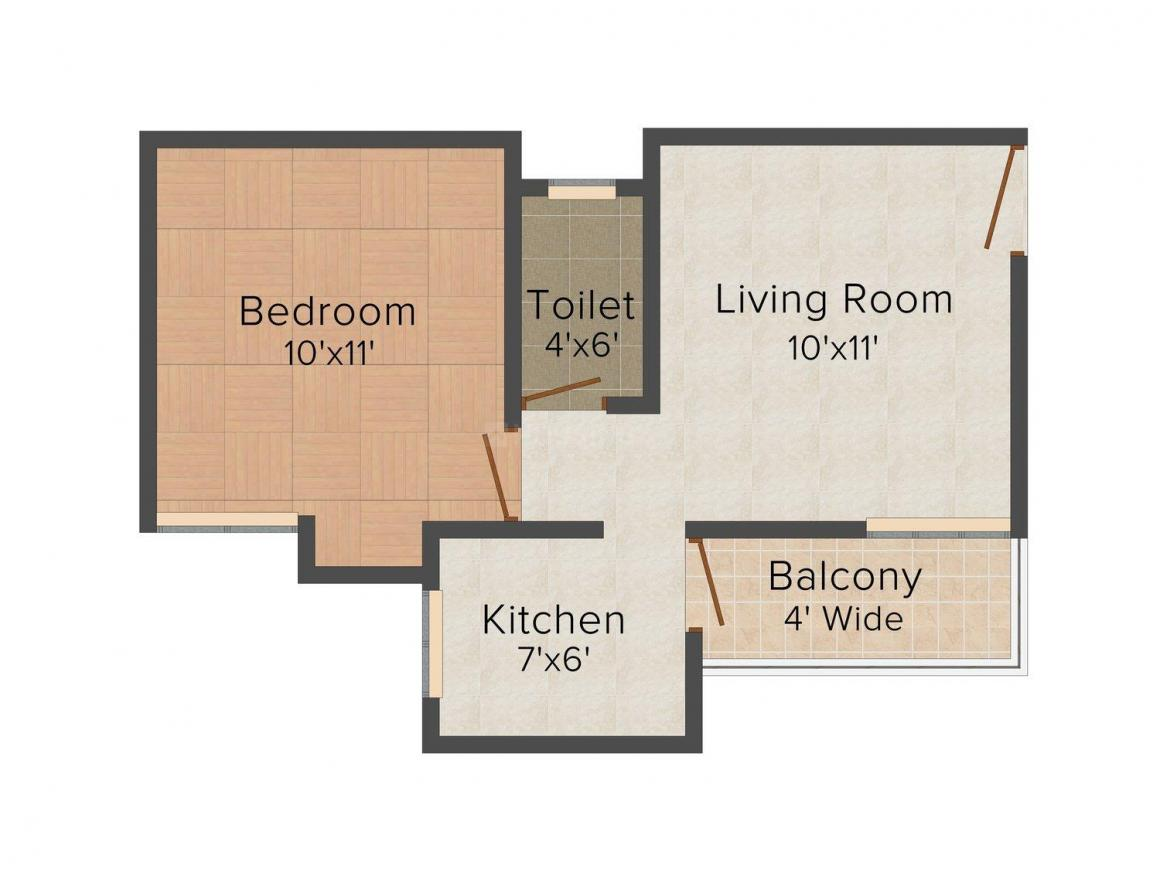 Floor Plan Image of 541.0 - 1008.0 Sq.ft 1 BHK Apartment for buy in IBD Universal Californea Citi