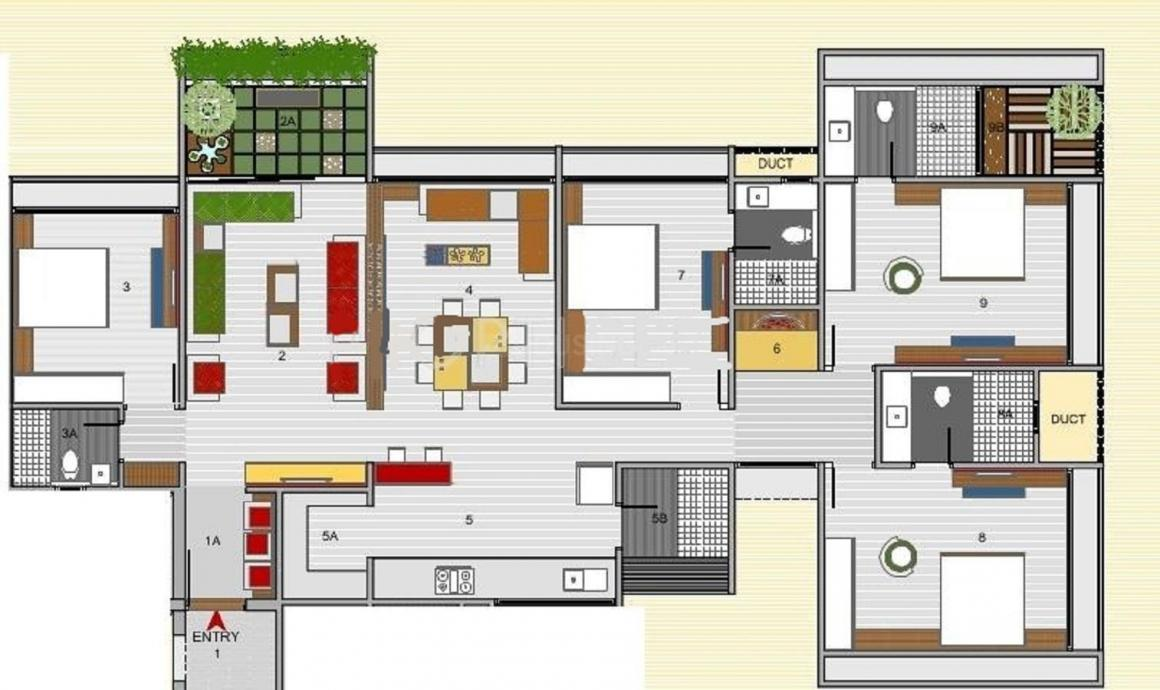 Nishant Ratnaakar Caledonia Floor Plan: 4 BHK Unit with Built up area of 3105 sq.ft 1