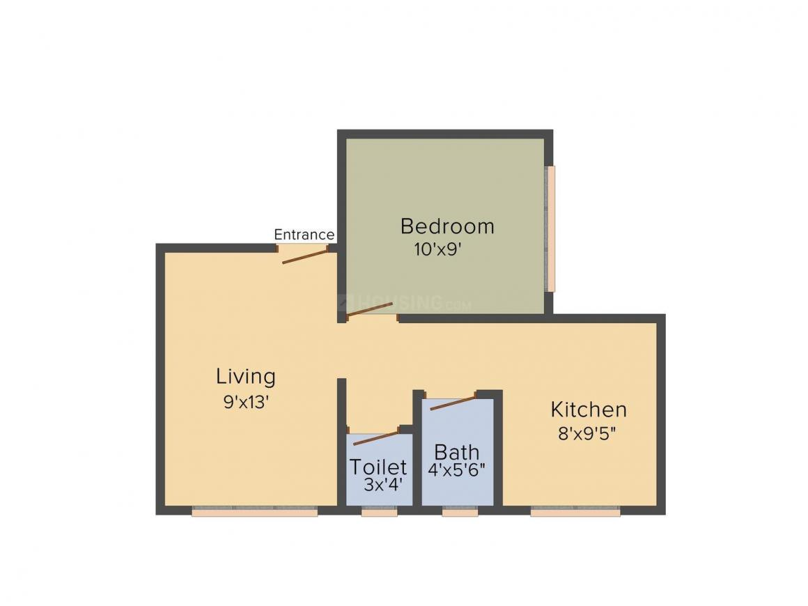 Shardha Residency Floor Plan: 1 BHK Unit with Built up area of 480 sq.ft 1