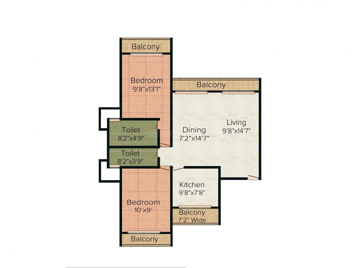 Floor Plan Image of 1250.0 - 1600.0 Sq.ft 2 BHK Apartment for buy in C Teja Sahil Heights