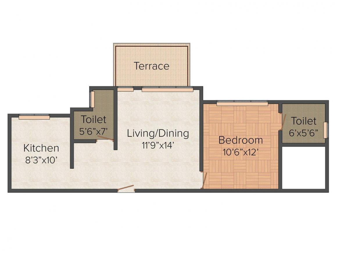 Floor Plan Image of 742 - 750 Sq.ft 1 BHK Apartment for buy in Charms Star