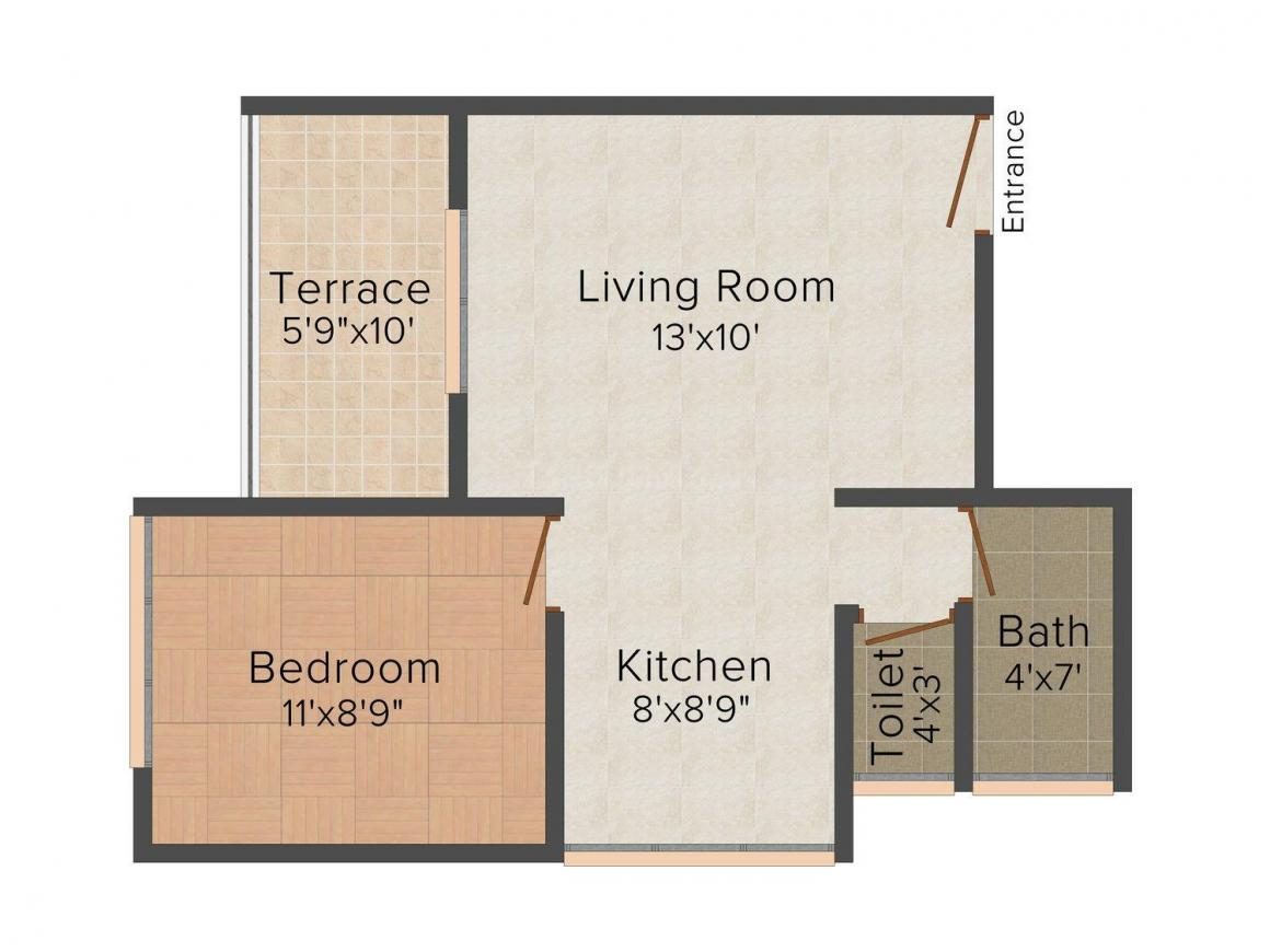 Floor Plan Image of 625 - 925 Sq.ft 1 BHK Apartment for buy in Nilkanthvarni Ram Heights