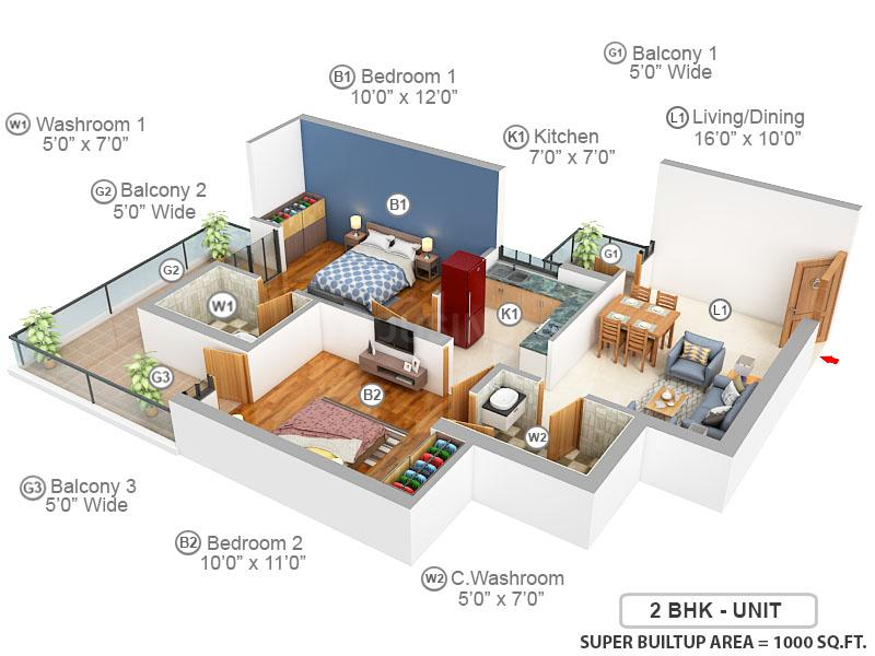 Ska Greenarch Floor Plan: 2 BHK Unit with Built up area of 1000 sq.ft 1