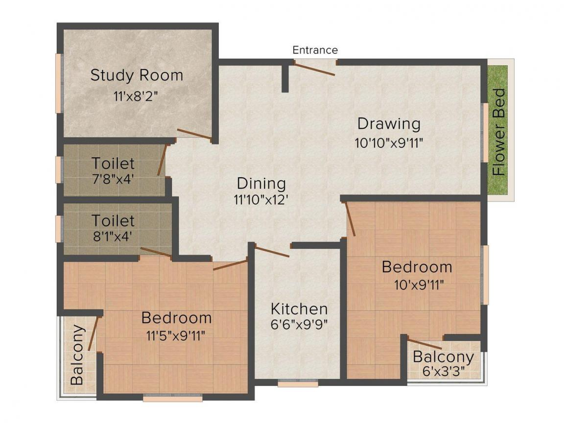 Lakhan Raj Floor Plan: 2 BHK Unit with Built up area of 1105 sq.ft 1