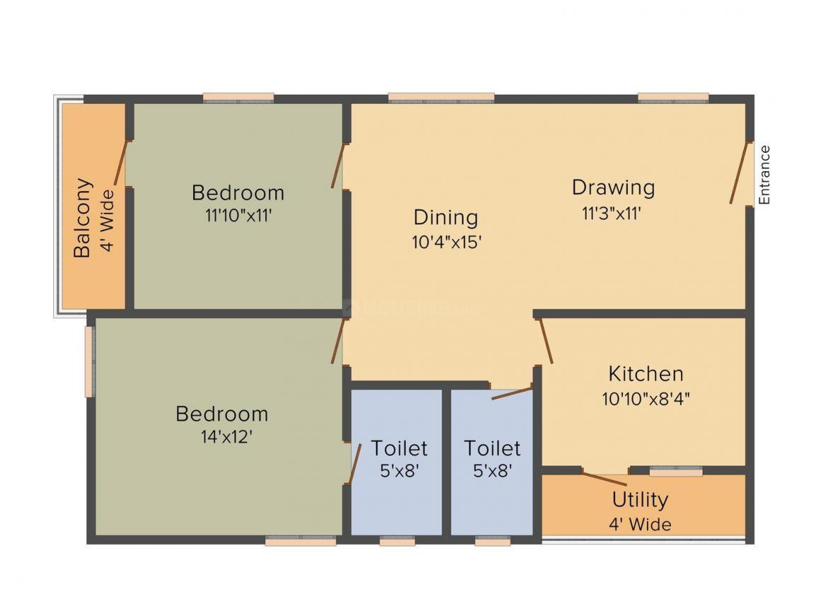 Floor Plan Image of 1190.0 - 1685.0 Sq.ft 2 BHK Apartment for buy in Sai LR East Oak