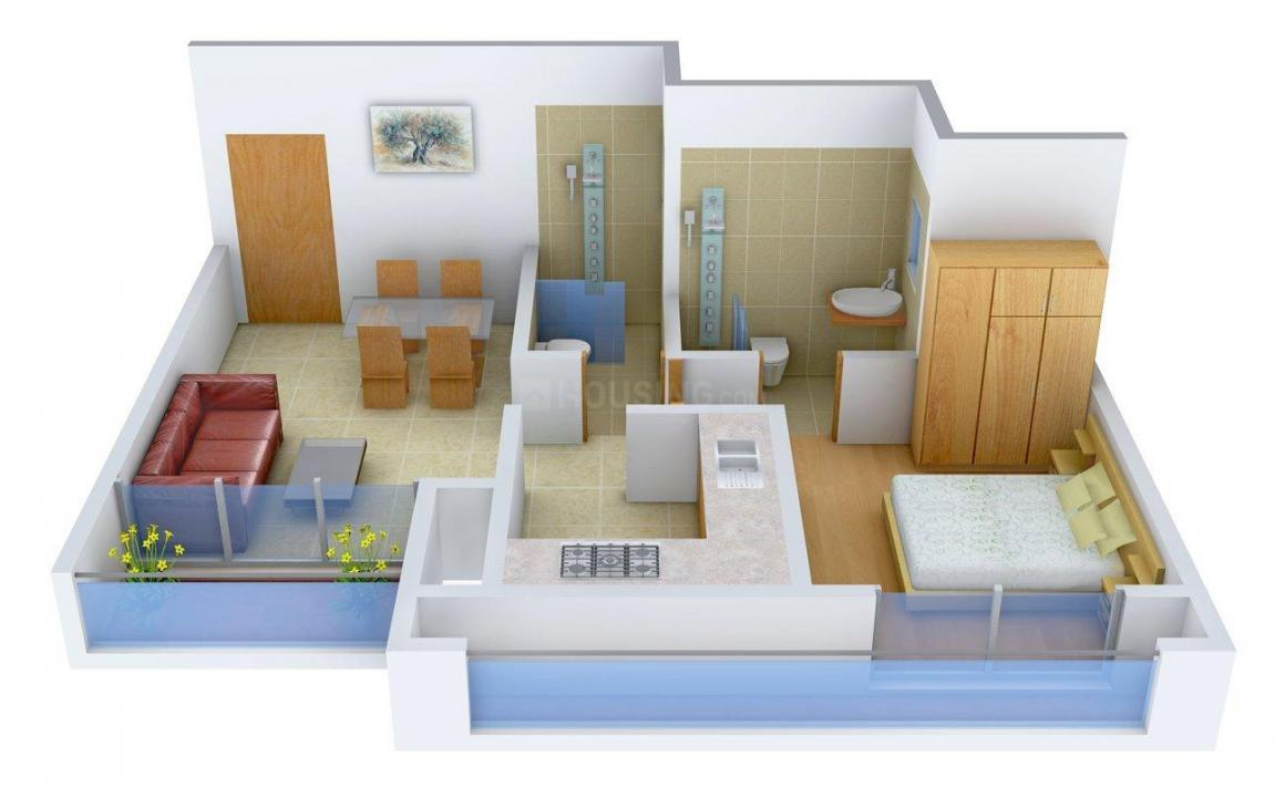 Floor Plan Image of 412.0 - 1335.0 Sq.ft 1 BHK Apartment for buy in Rustomjee Global City