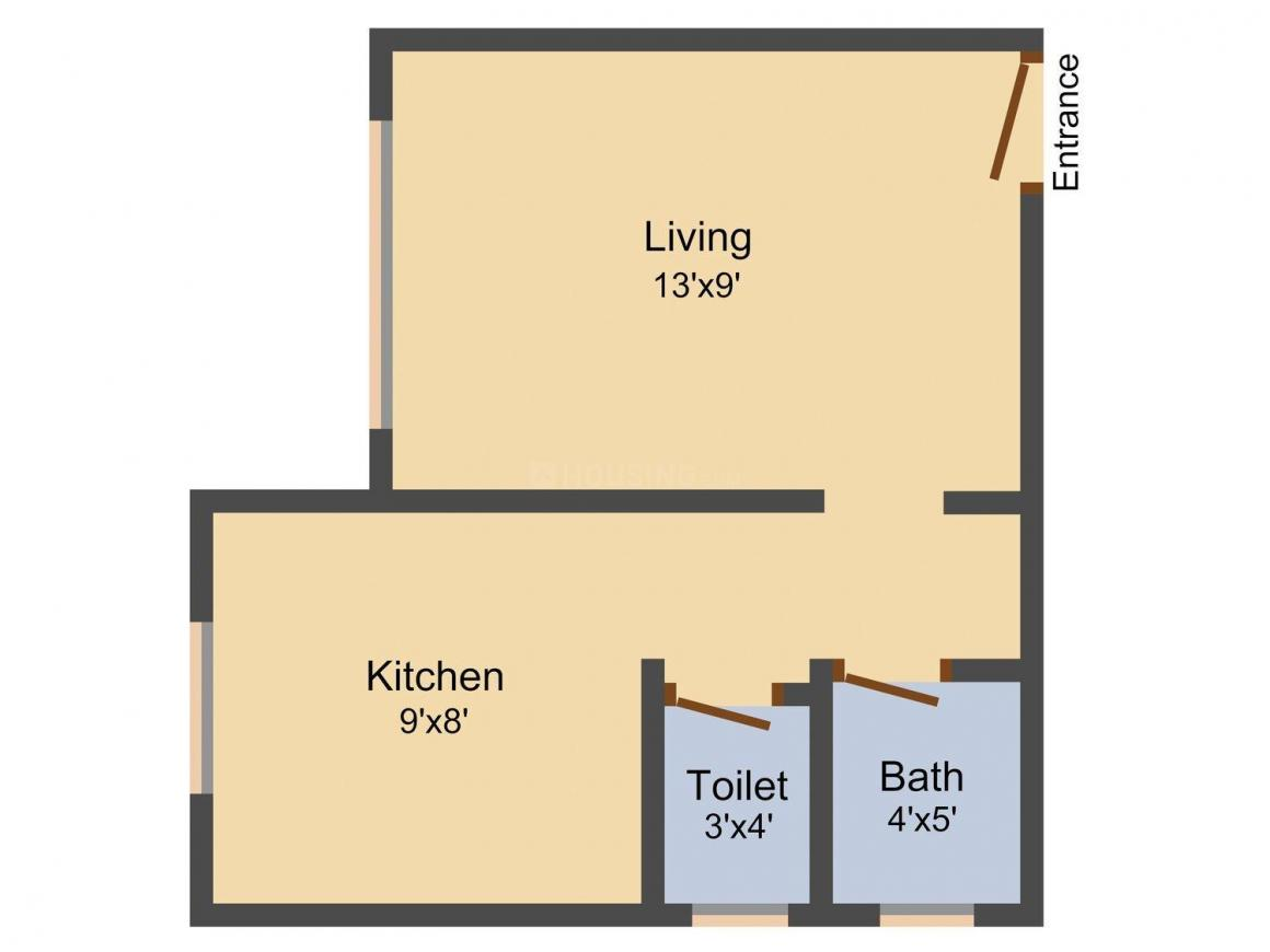 Floor Plan Image of 350.0 - 645.0 Sq.ft 1 RK Apartment for buy in Morya Sai Siddhi Complex