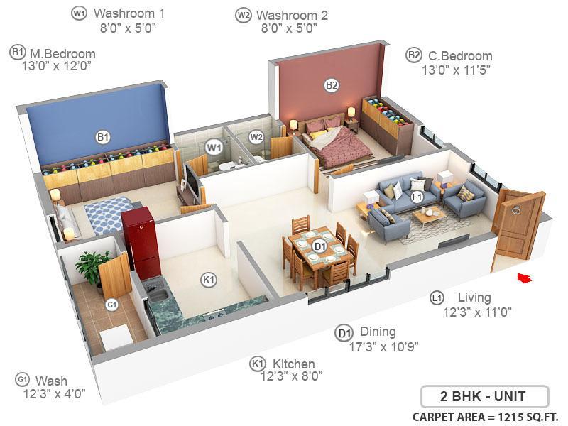 Jaya Shree Jayathra Floor Plan: 2 BHK Unit with Built up area of 1215 sq.ft 1