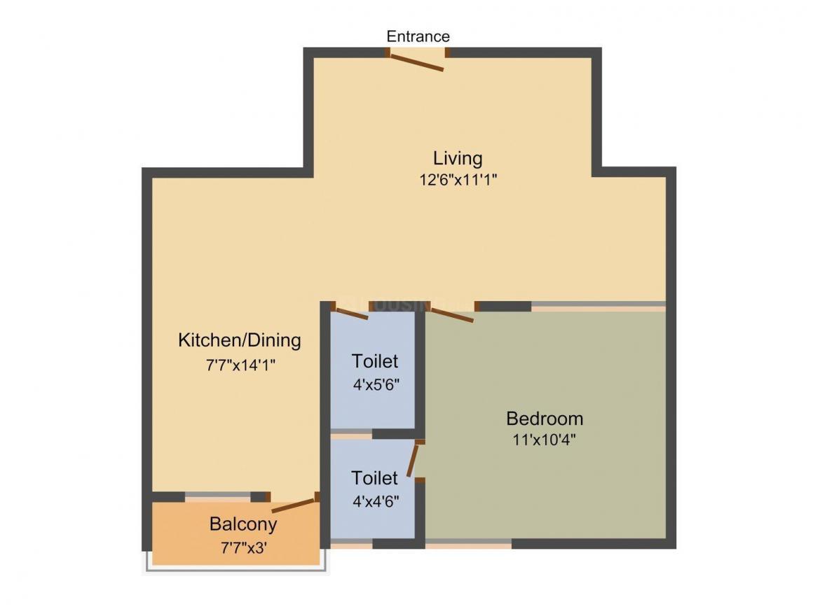 Floor Plan Image of 610 - 785 Sq.ft 1 BHK Apartment for buy in Abinandans Tarika