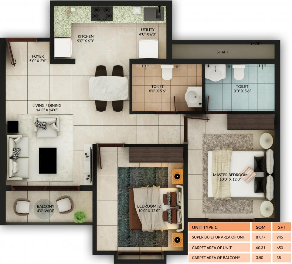 Salarpuria Misty Charm Floor Plan: 2 BHK Unit with Built up area of 650 sq.ft 1