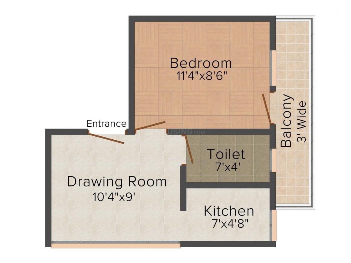 Floor Plan Image of 308 - 450 Sq.ft 1 BHK Independent Floor for buy in Gandhi Bhawan