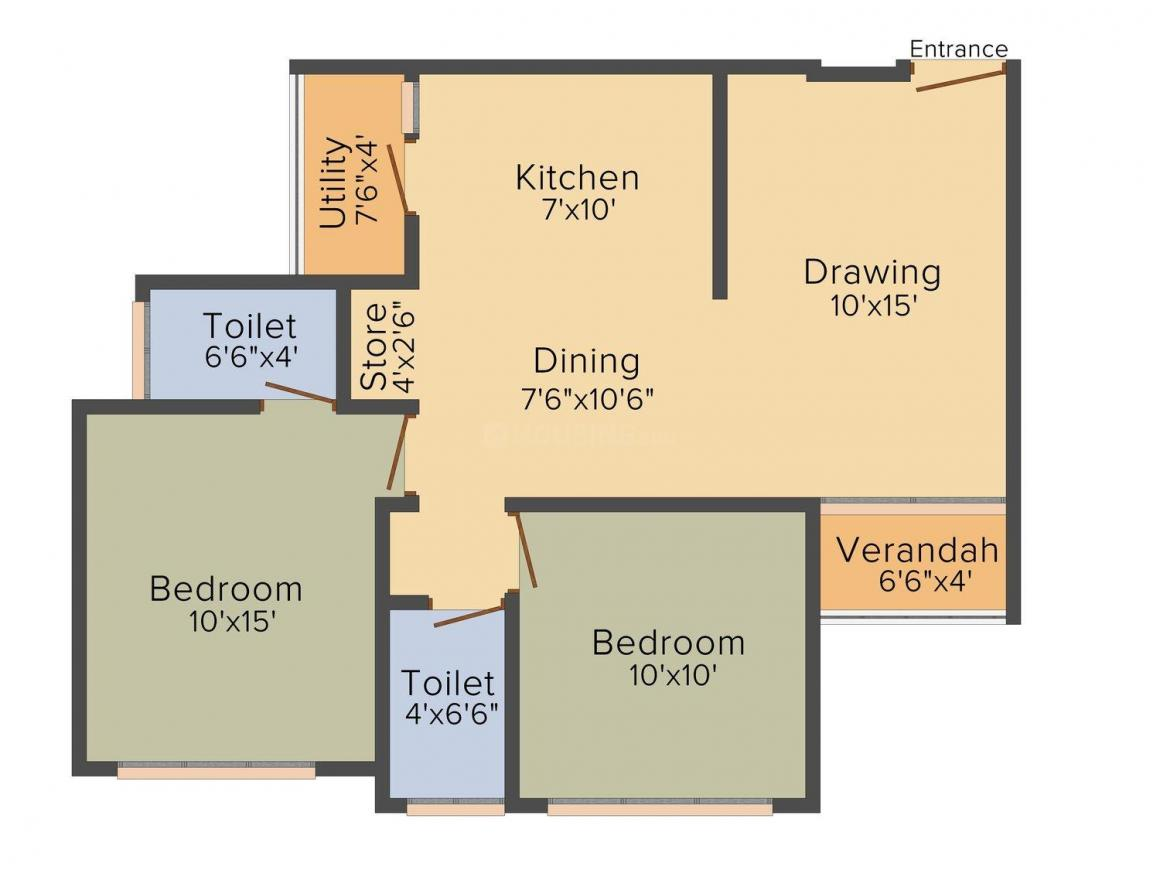 Shiv Serenity Space Floor Plan: 2 BHK Unit with Built up area of 1233 sq.ft 1