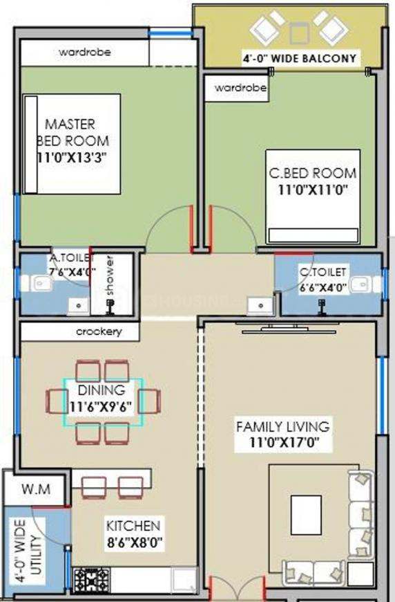 Floor Plan Image of 0 - 1125.04 Sq.ft 2 BHK Apartment for buy in Mahitha Green Oaks Block B