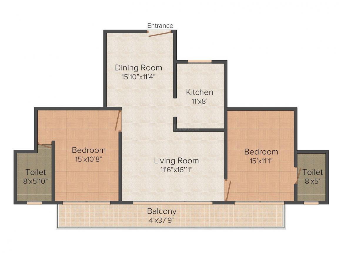 Floor Plan Image of 1345 - 1464 Sq.ft 2 BHK Apartment for buy in Elegant Vitanouva