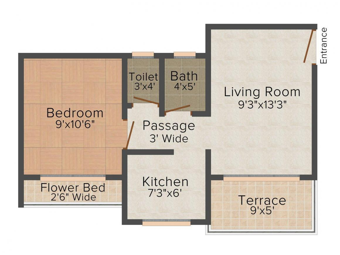 Floor Plan Image of 0 - 595 Sq.ft 1 BHK Apartment for buy in Prayag Amber