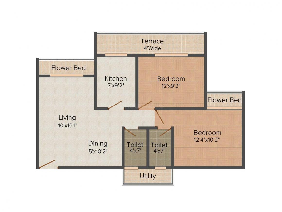 Floor Plan Image of 0 - 790.0 Sq.ft 2 BHK Apartment for buy in Prateek Gems