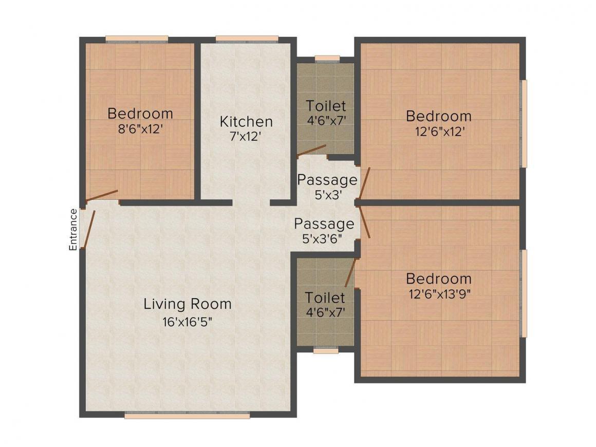 Floor Plan Image of 775 - 880 Sq.ft 3 BHK Apartment for buy in Kamla SBI Shree