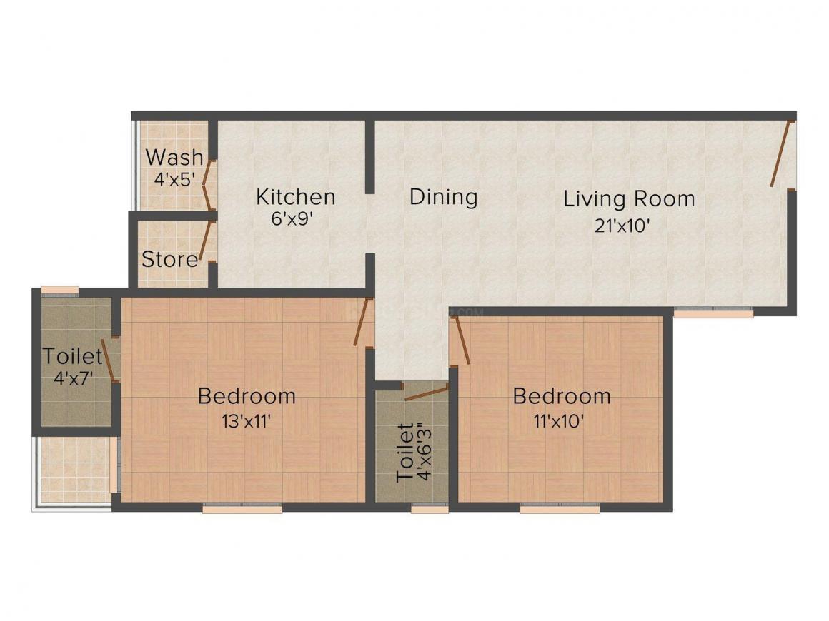 Narayan Krupal 1 Floor Plan: 2 BHK Unit with Built up area of 1314 sq.ft 1