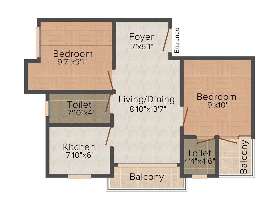 Magnolia Crossword Floor Plan: 2 BHK Unit with Built up area of 710 sq.ft 2