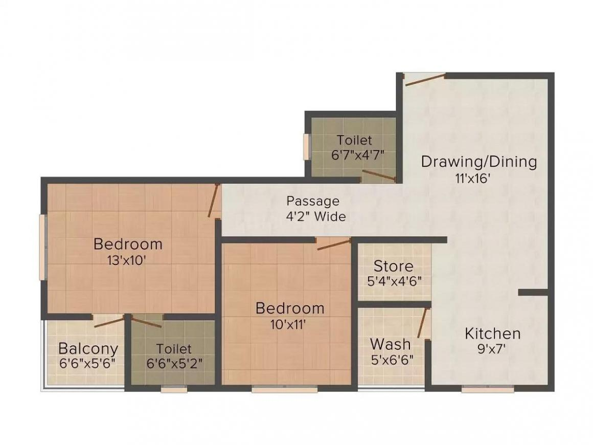 Shivam Rudra Sky Floor Plan: 2 BHK Unit with Built up area of 1305 sq.ft 1