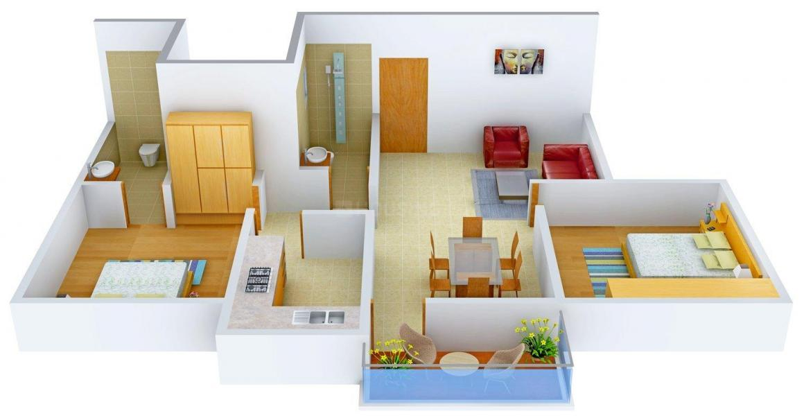Floor Plan Image of 0 - 968 Sq.ft 2 BHK Apartment for buy in Srinath Tigris
