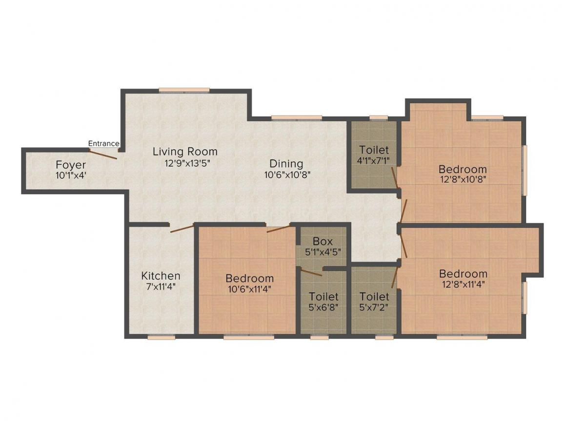 Floor Plan Image of 1550.0 - 1600.0 Sq.ft 3 BHK Apartment for buy in Shri Creators 34, Gariahat Road
