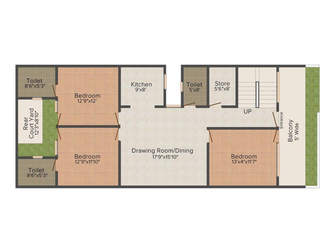 Floor Plan Image of 0 - 1800 Sq.ft 3 BHK Independent Floor for buy in RS Satvik