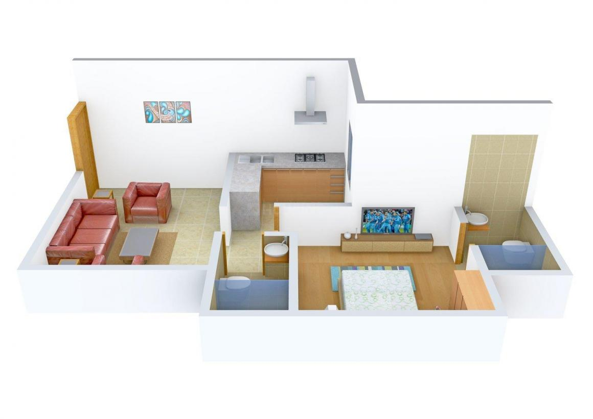 Floor Plan Image of 600.0 - 635.0 Sq.ft 1 BHK Apartment for buy in Parasnath Eksar Heights