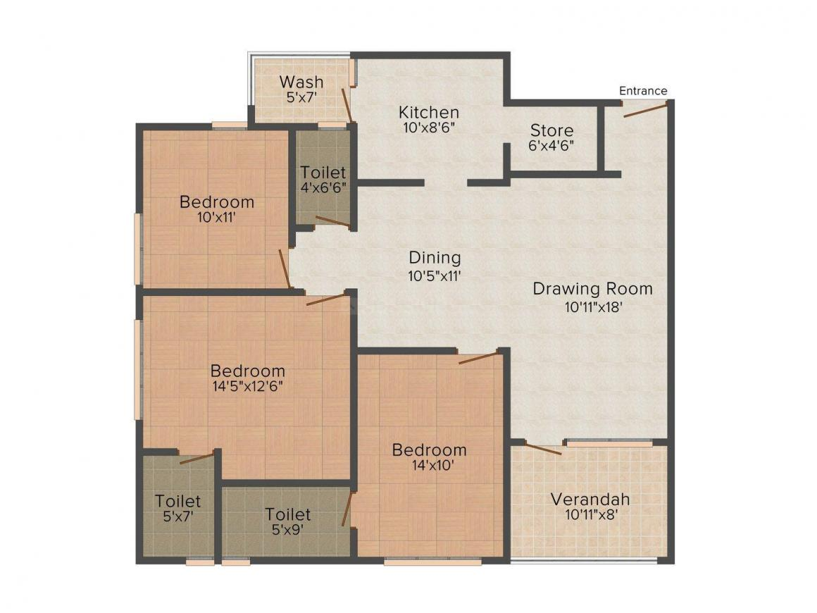 Rushabhdev Sharan Status Floor Plan: 3 BHK Unit with Built up area of 1910 sq.ft 1