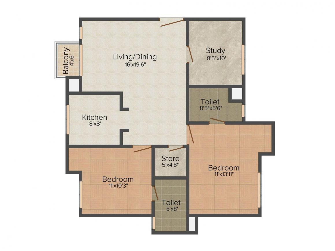 Floor Plan Image of 0 - 1250 Sq.ft 2 BHK Apartment for buy in Orange Silver Olive Tikona