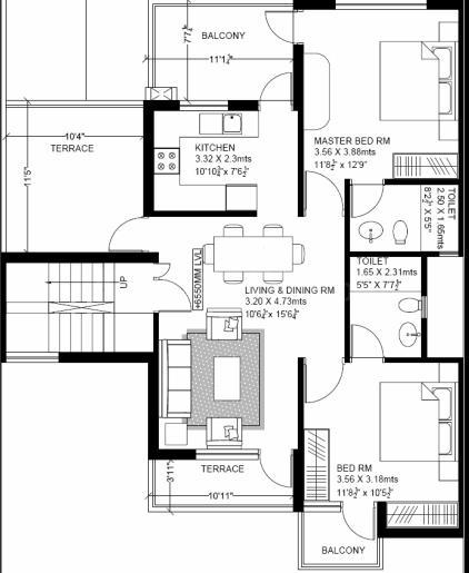 Vatika Primrose Floors Floor Plan: 2 BHK Unit with Built up area of 881 sq.ft 1