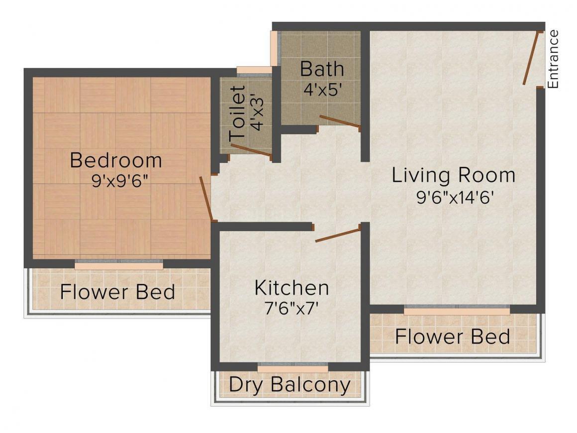 Floor Plan Image of 402 - 570 Sq.ft 1 RK Apartment for buy in Shree Sadguru Vinayak Complex