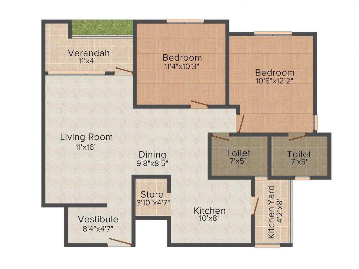 Floor Plan Image of 1215.0 - 1809.0 Sq.ft 2 BHK Apartment for buy in Venus Parkland