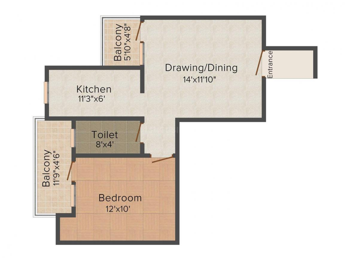 Floor Plan Image of 780.0 - 1806.0 Sq.ft 1 BHK Apartment for buy in Citizen Ananda
