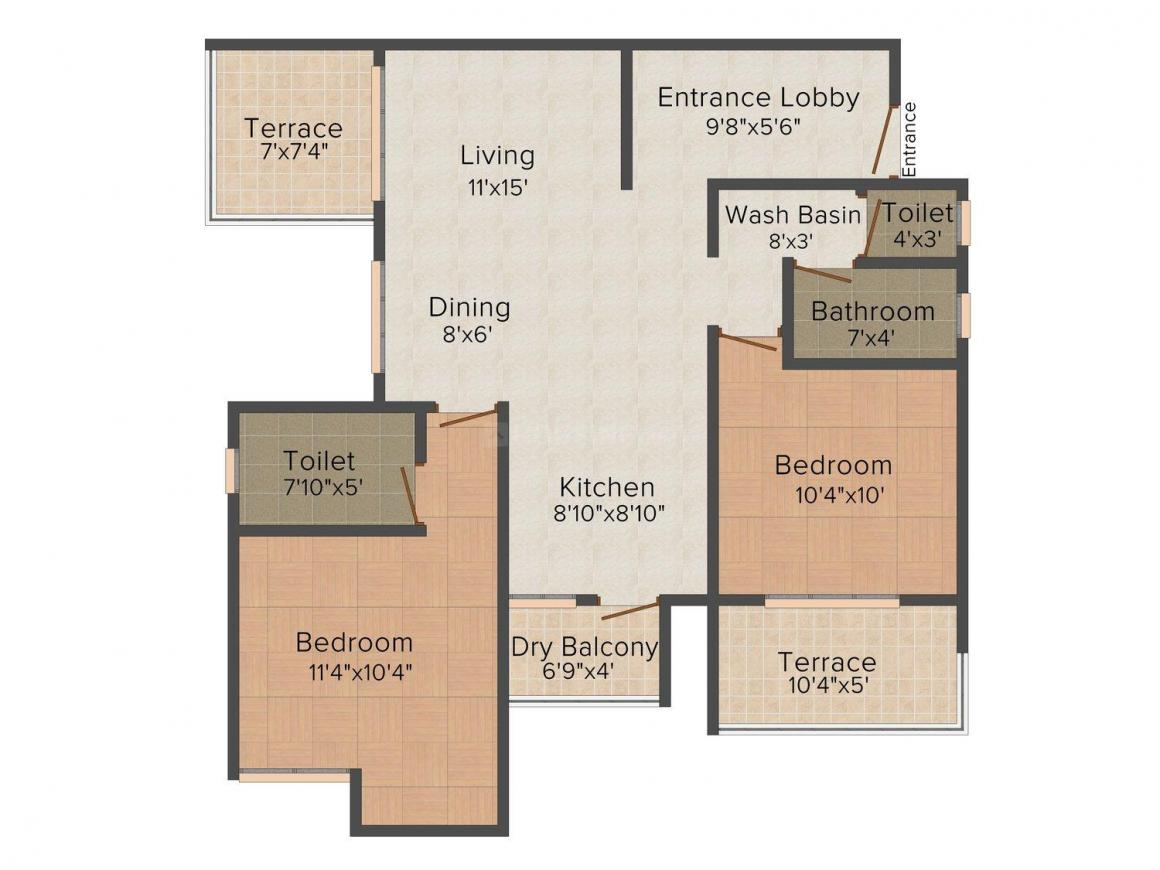 Prajeya Pearl Floor Plan: 2 BHK Unit with Built up area of 1082 sq.ft 1