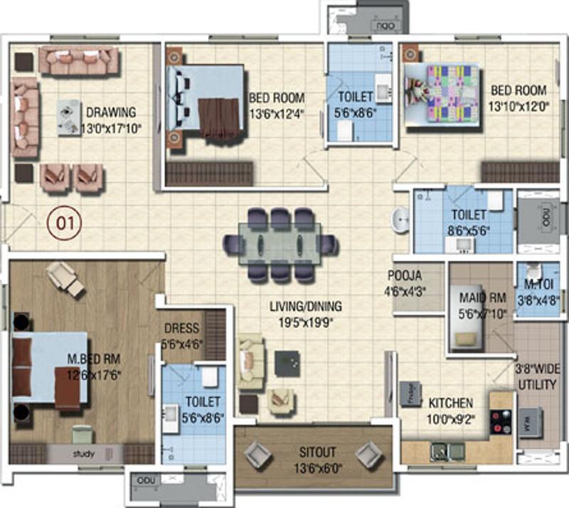Salarpuria Magnus Floor Plan: 3 BHK Unit with Built up area of 2260 sq.ft 1