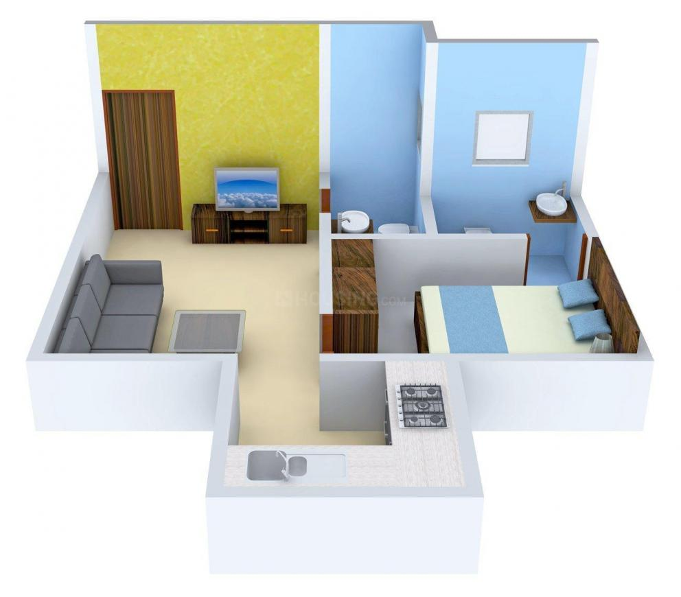 Chandak Next Wing B Floor Plan: 1 BHK Unit with Built up area of 368 sq.ft 1
