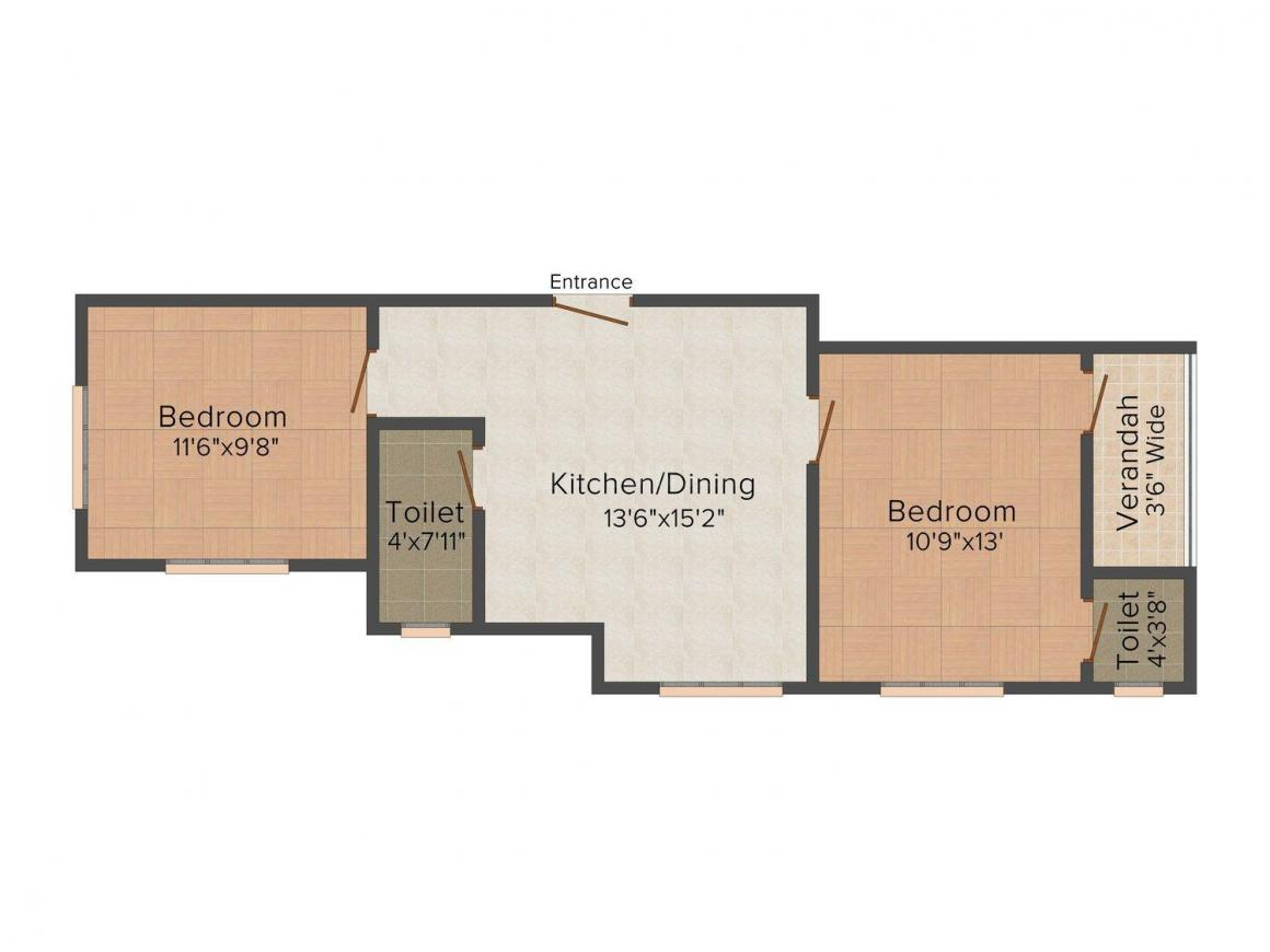 Floor Plan Image of 755.0 - 1055.0 Sq.ft 2 BHK Apartment for buy in Boral Majherpara