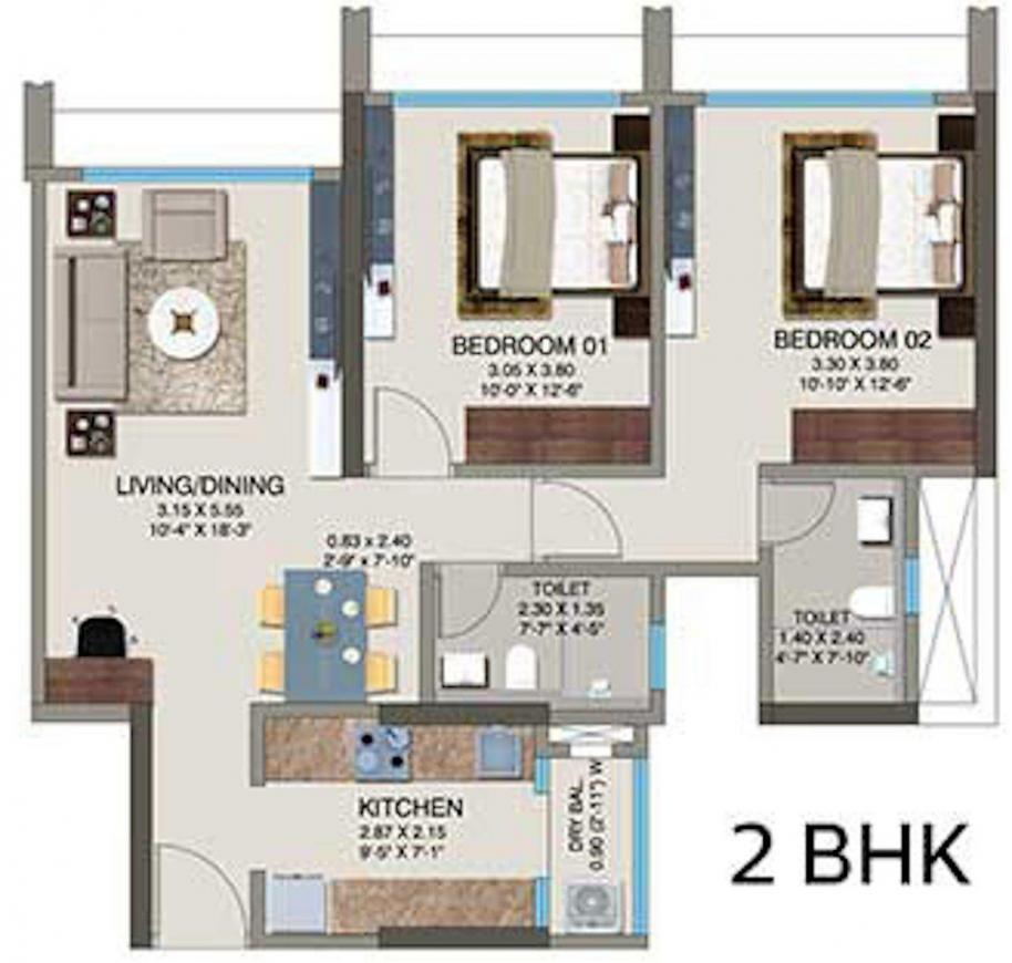 Kanakia Codename Future D Floor Plan: 2 BHK Unit with Built up area of 564 sq.ft 1
