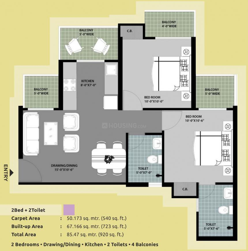 Arihant Abode Floor Plan: 2 BHK Unit with Built up area of 920 sq.ft 1