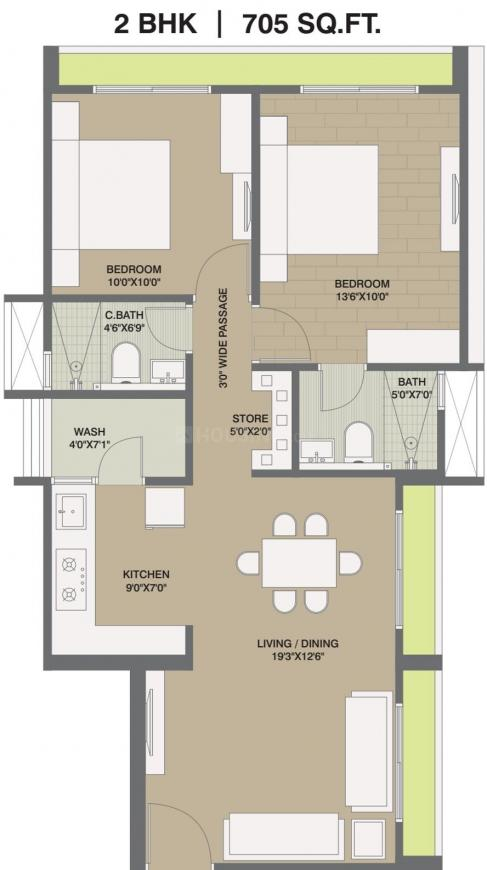 Saanvi Sky One Floor Plan: 2 BHK Unit with Built up area of 705 sq.ft 1