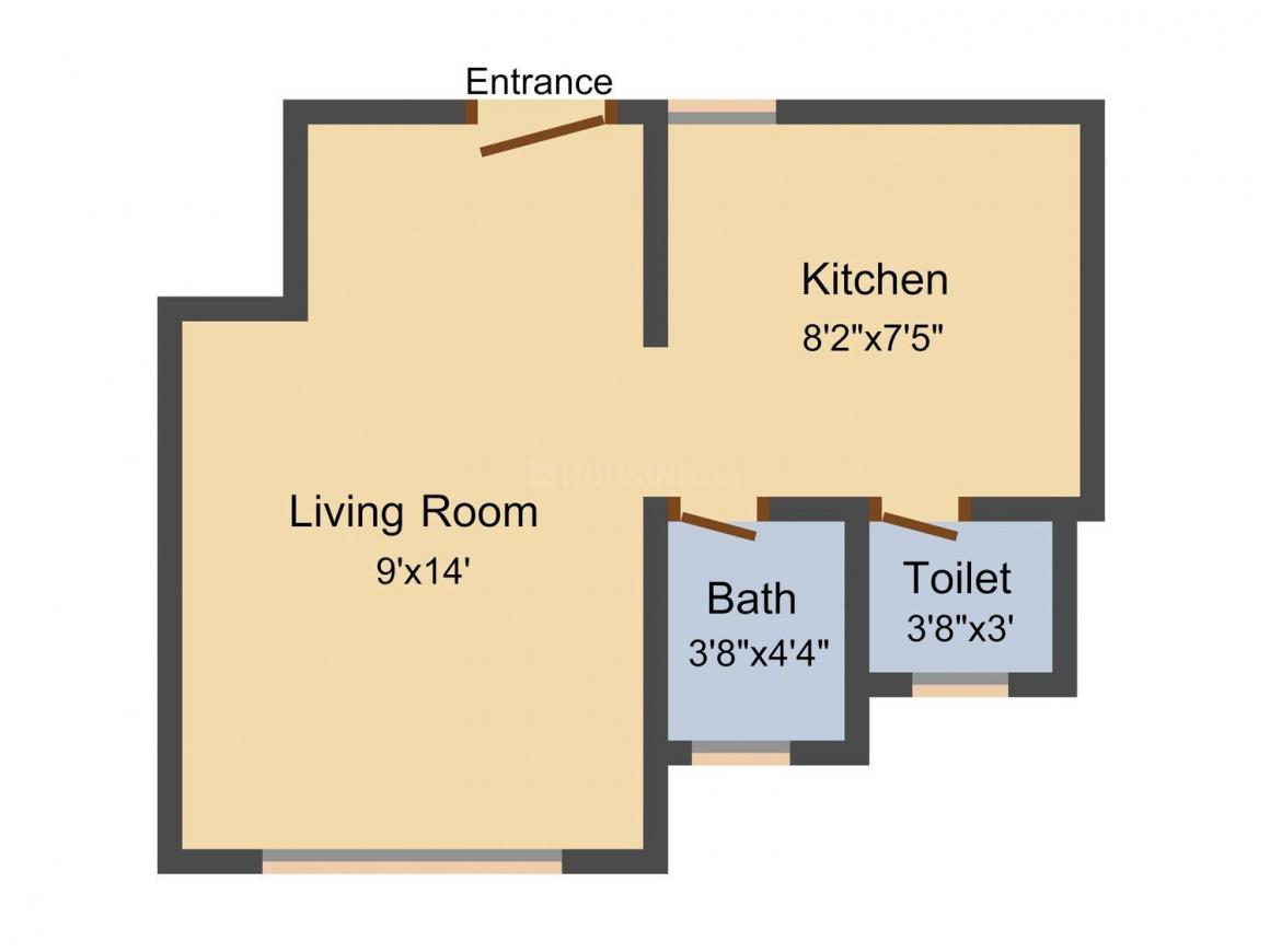 Floor Plan Image of 305 - 690 Sq.ft 1 RK Apartment for buy in United Homes