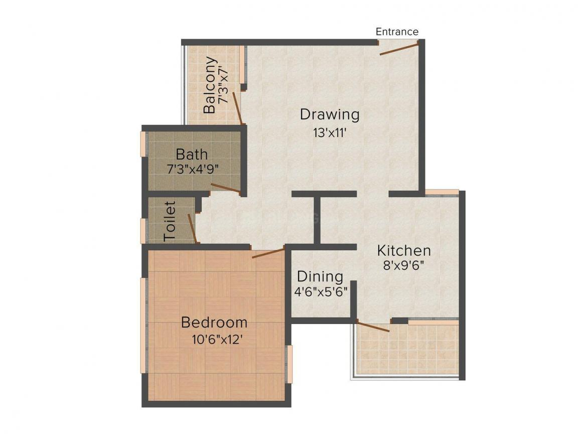 Ruby Floor Plan: 1 BHK Unit with Built up area of 805 sq.ft 1