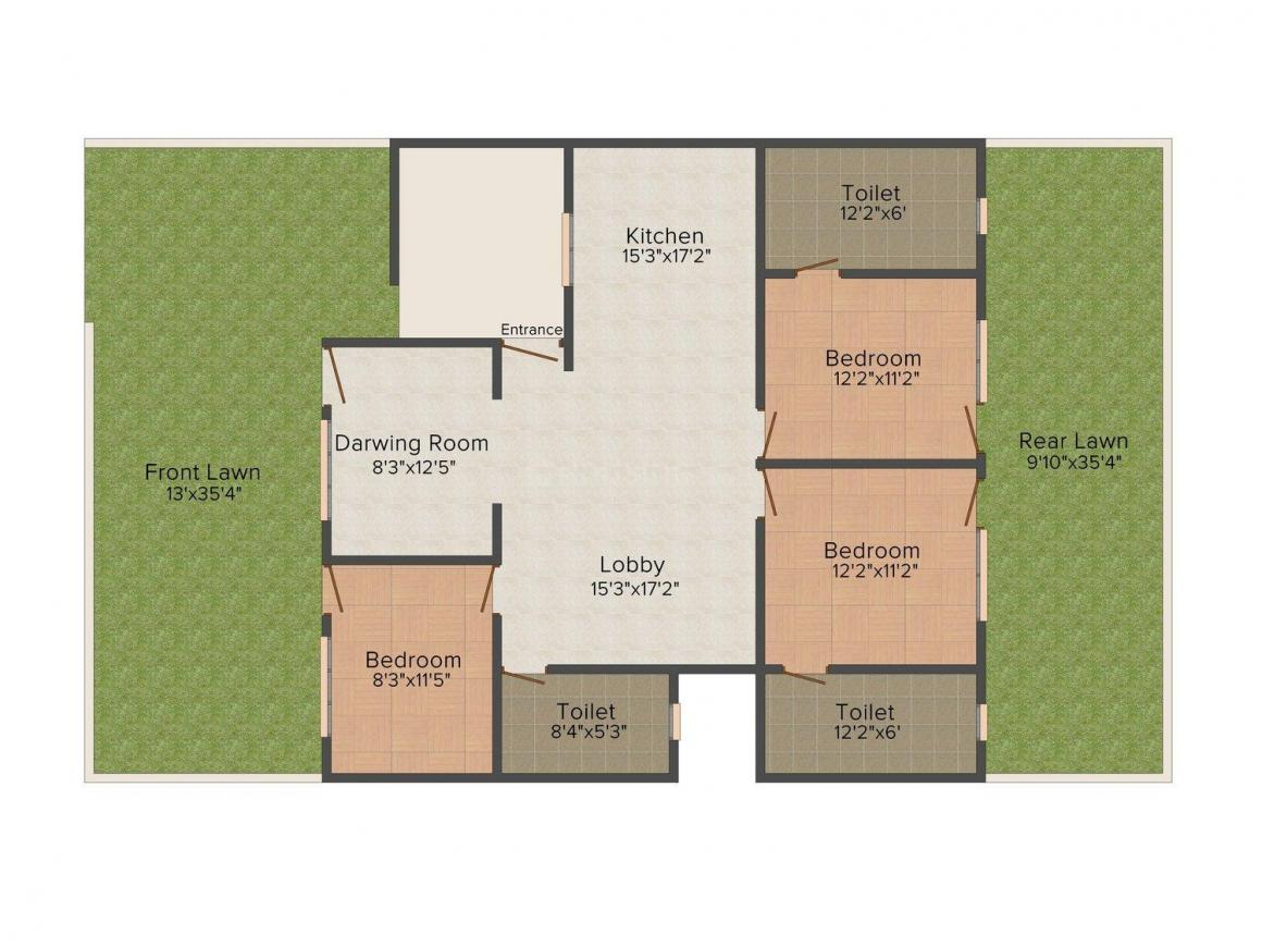Bunty Floors 10 Floor Plan: 3 BHK Unit with Built up area of 1250 sq.ft 1