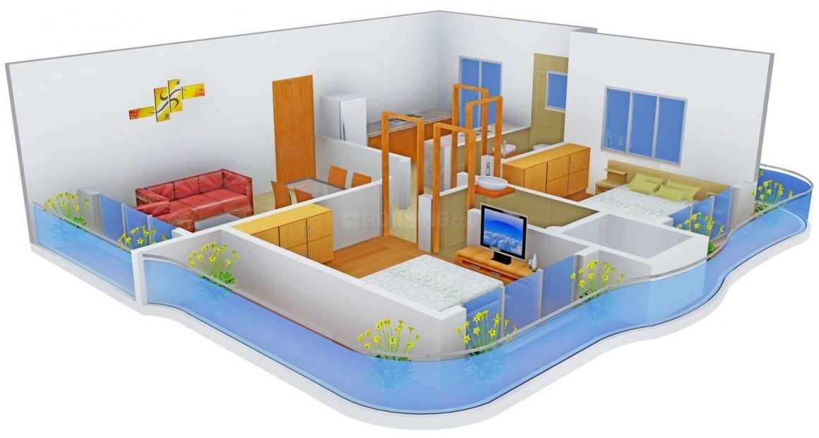 Floor Plan Image of 0 - 1015.0 Sq.ft 2 BHK Apartment for buy in City Dev Ashish